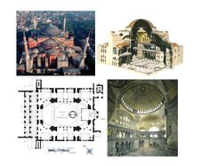 Anthemius of Tralles and Isidorus of Miletus, Hagia Sophia, 532-537 CE. Built by Justinian after the Nika Revolt in 532 to replace a church burned during the riots as a way of reasserting his power and authority. It has since been a church, a mosque, and is currently a museum. The tallest dome is 180 ft tall. The piers which support the domes are made of ashlar masonry with no concrete used. The men who designed the Hagia Sophia were not architects. They were a mathematician and a physicist.