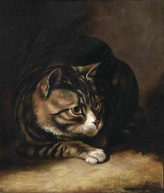 Horatio Henry Couldery (Inglaterra, 1832-1893). A tabby cat