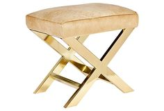 Peter X Bench, Brass on OneKingsLane.com.  Obsessed for guest room under a lucite vanity or in the corner of the room