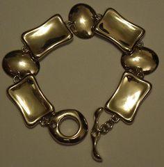 Robert Lee Morris Sterling Tablet & Pressed Oval Link Bracelet NEW - Never Worn - http://elegant.designerjewelrygalleria.com/robert-lee-morris/robert-lee-morris-sterling-tablet-pressed-oval-link-bracelet-new-never-worn/