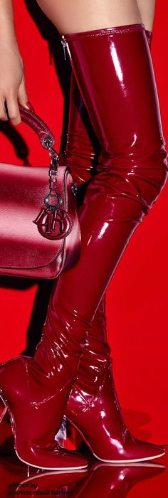 "These over-the-knee boots give a new meaning to ""seeing red"". Red High Heel Boots, Thigh High Boots, Over The Knee Boots, Heeled Boots, Bootie Boots, Ankle Boots, High Heels, Red Shoes, Me Too Shoes"
