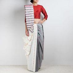 Handloom White-Grey Khesh Cotton Saree