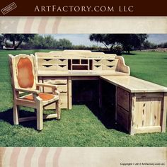 This Desk Is A Tremendous Example Of Classic American West Design, Handmade By Our World Class Master Craftsmen And Wood Carvers  Built From Solid Full Length Timber That Has Been Naturally Cured In The Dry Desert Air, With Genuine Granite Inlay Art Furniture, Custom Furniture, Dry Desert, Craftsman Furniture, Wrought Iron Doors, Exterior Doors, Wood Doors, Windows And Doors, Granite