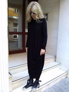 Black Extravagant Asymetric Tunic Dress  This stylish long dress is sutable for any figure,  with long sleeves , elongate the body .  Soft , elegant, and