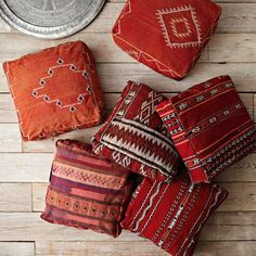 Found Battani Patterned Poufs from @WestElm add colour to #homedecor