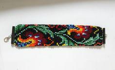 Bracelet/Manchette vintage, collection tapisserie, tissage indien, fait-main.