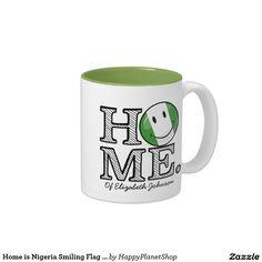 Home is Nigeria Smiling Flag Housewarming Two-Tone Coffee Mug