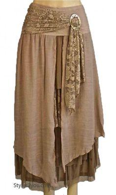 AP Antique Belted Skirt In Brown Pretty Angel Clothing Antique Belted Skirt In Carmel & Brown [AGLLN27114BR Vintage Skirt] :