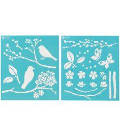 Martha Stewart Medium Stencils 2 Sheets/Pk-Birds/BerriesMartha Stewart Medium Stencils 2 Sheets/Pk-Birds/Berries,