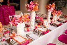 Pin wheel centerpieces                                                     orange-fushia-tablescape-modern-no-flowers