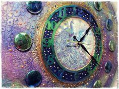 """Купить Часы большие """"ПАВЛИНовые"""" - разноцветный, часы большие, часы настенные…"""