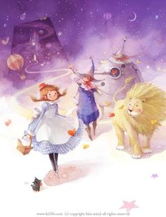 """The collection of tender illustrations for the children's books from Kim Minji, an illustrator from South Korea: new look at """"The Little Prince"""", """"Peter Pan"""" and others. Character Concept, Concept Art, Character Design, Kim Min Ji, The Little Prince, Wizard Of Oz, Children's Book Illustration, Storyboard, Alice In Wonderland"""