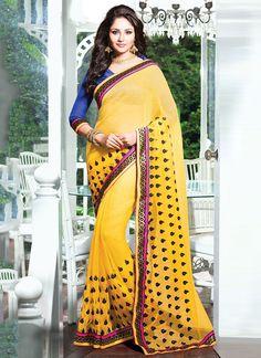 Cracking Yellow Rajjo Net Saree