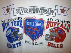 Thinking about cutting & framing this for our basement since it would incorporate our fav. teams: Vintage Super Bowl XXV T-Shirt New York Giants vs. Buffalo Bills. $15.00, via Etsy.