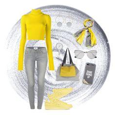 """Gray & Yellow"" by eda-edos on Polyvore featuring moda, Guerlain, adidas Originals, Jacquemus, Paige Denim, Kate Spade, Prada, Pollini, DKNY ve Marni"