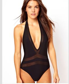 V one piece swimming suit