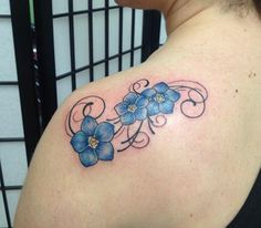 Forget-me-not Flower Tattooed by Carrie Olson #tattoos #forgetmenot