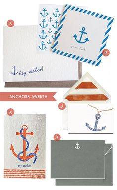 "I love any stationery with anchors - stationery ""hey sailor"" ""anchors aweigh"""