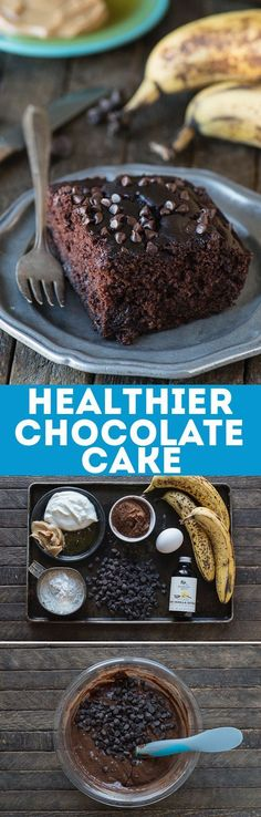 This healthier chocolate cake tastes like a double chocolate chip banana muffin! This healthier chocolate cake tastes like a double chocolate chip banana muffin! No sugar, butter or oil but uses bananas, greek yogurt and honey instead! Healthy Cake Recipes, Healthy Deserts, Healthy Sweets, Healthy Baking, Sweet Recipes, Baking Recipes, Delicious Desserts, Dessert Recipes, Yummy Food
