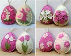 LEVERING na Pasen voelde decoratie, roze en ivoor paaseieren met bunny en vlinders of bloemen, Pasen ornamenten - Kies set van 2