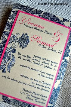 Pink and Navy Wedding Invitation. Love the paisley!