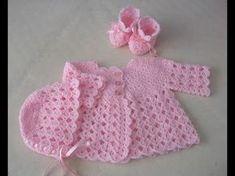 Crochet baby sweater dress children 33 New ideas Crochet Dress Girl, Crochet Baby Sweaters, Crochet Baby Bonnet, Crochet Baby Cardigan, Baby Girl Sweaters, Baby Girl Crochet, Crochet Baby Clothes, Crochet Jacket, Newborn Crochet