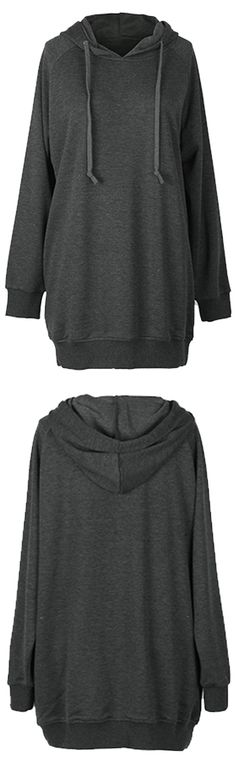 Perfect item for layering with $27.99 Only! This dark grey long hoodie with drawstring would change your look when pairing up with different items. Show your pure beauty with Cupshe.com !