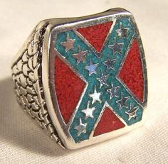 REBEL FLAG SILVER STARS BIKER RING HEAVY confederate star and bar jewelry new