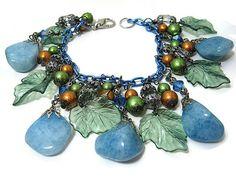 Blue Green Cha Cha Bracelet Gemstone Glass by SharkysWaters