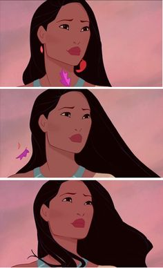 Look at the brave face she puts up-Pocahontas is saying goodbye to the only person she has ever made a real connection with and she puts her chin up as the wind lifts her spirits to watch as her soulmate leaves. And the sadness in her eyes becomes reflection-knowing her experience will shape her as a person and is glad she went through all she did even though it hurt in the end. It's a beautiful motion, really