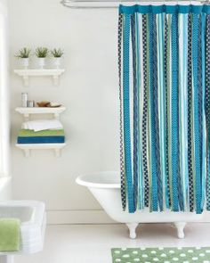 DIY Ribbon Shower Curtain -- just need to learn how to sew and I can make this happen.