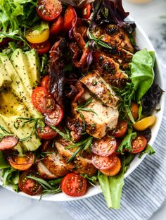rosemary chicken, bacon and avocado salad I howsweeteats.com