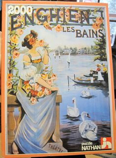 1983 NATHAN 2000 pc Jigsaw PUZZLE Raymond Tournon FRENCH POSTER woman/swans NEW #Nathan