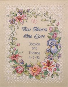 Two Hearts Wedding Record - Stamped Cross Stitch Kit