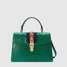 Gucci Sylvie crocodile top handle bag