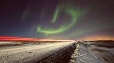 Северное сияние и дорога