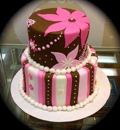Brown and Pink Fondant Cake