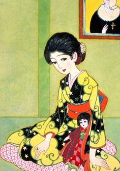 蕗谷虹児(Kouji Fukiya) 『お留守居』 Retro Kunst, Retro Art, Japanese Prints, Japanese Art, Japanese Beauty, Japanese Illustration, Illustration Art, Japanese Quilt Patterns, Art Japonais