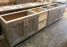 Vintage Style Repurposed Wood Pallets Kitchen - San Rafeal kitchen remodel - - New Ideas Pallet Kitchen Cabinets, Vintage Kitchen Cabinets, Kitchen Cabinet Styles, Refacing Kitchen Cabinets, Wooden Kitchen, Diy Cabinets, Pallet Cabinet, Cabinet Plans, Reclaimed Wood Kitchen