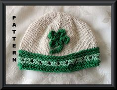 Knitted Hat Pattern Baby Hat Pattern Knitted Irish Beanie Knitted Shamrock Hat St Patricks Day Hat Knitting Infant Hat: SHAMROCK BEANIE