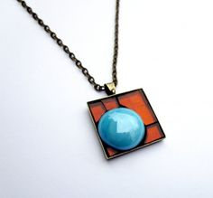 Stained Glass Mosaic Pendant Square, Metallic Orange and Blue Necklace, Orange and Blueberry Candy Pendant, Micro Mosaic, Abstract