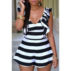 2018 Hot Sexy Sleeveless V-Neck Black White Stripes Ruffle Sliky Rompers Womens Jumpsuit Eenteritos Mujer Cortos Formales Rompers Women, Jumpsuits For Women, Club Dresses, Sexy Dresses, Look Fashion, Fashion Outfits, Womens Fashion, Black Playsuit, White Jumpsuit