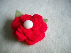 Red Felt Flower - for Sophie's polka dot dress for Fri night