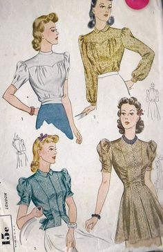 1940s Misses Blouse Vintage Sewing Pattern Simplicity 3367