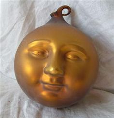 Vtg Blown Mercury Glass Large Ornament Witch Ball Man in Moon Stars ...