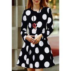 Stylish Round Neck Polka Dot Print Long Sleeve Women's Dress #women, #men, #hats, #watches, #belts, #fashion