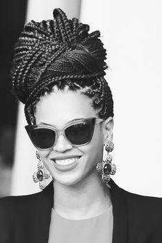 beyonce // box braids // bun