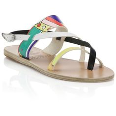 Ancient Greek Sandals Ancient Greek for Peter Pilotto Alethea... ($130) ❤ liked on Polyvore featuring shoes, sandals, apparel & accessories, multi, multi color shoes, vintage style shoes, colorful flat shoes, colorful shoes and strappy shoes