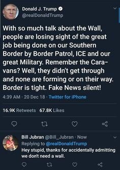 So tell me, Donald Trump: WHY do we need a wall? Truth Hurts, It Hurts, Donald Trump Tweets, Political Views, We Remember, Worlds Of Fun, In This World, At Least, Shit Happens
