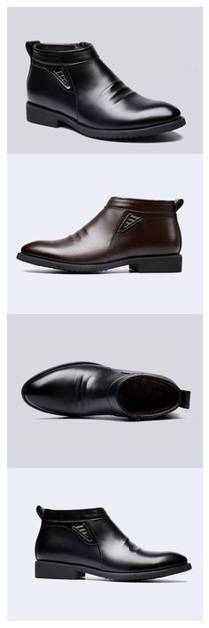 Comfy Men Casual Business PU Leather Fur Lining Side Zipper Pointed Toe Ankle Boots